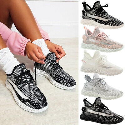 Ladies Lace Up Walking Sneaker Mesh Women Running Trainers Gym Sports Shoes Size • 14.95£