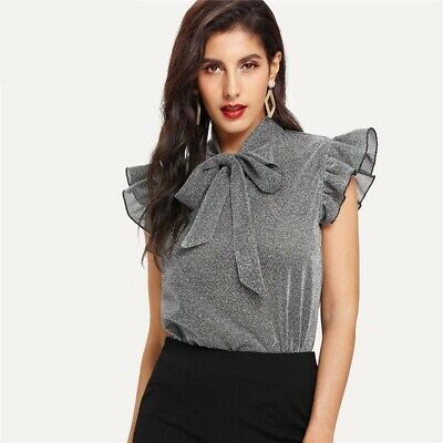 AU36.37 • Buy Blouse Women New Party Glitter Clothing Gray Tie Neck Ruffle Sleeve Casual 1pc