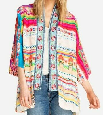$129.99 • Buy $415 Johnny Was Maci Kimono Jacket Embroidered Trim Rayon 1x 2x  Nwt Colorful