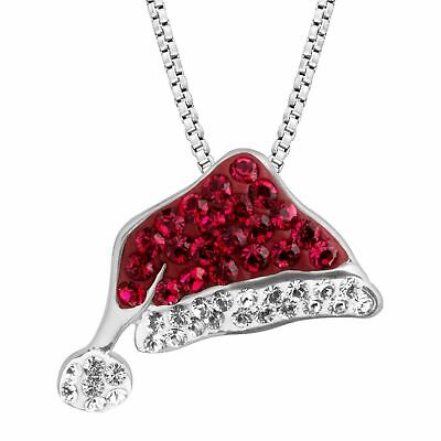$ CDN93.64 • Buy CHRISTMAS GIFT HER Santa Hat Pendant With Swarovski Crystals In Sterling Silver