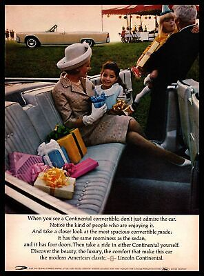 $9.95 • Buy 1964 Lincoln Continental Convertible Birthday Party Gifts Little Girl Print Ad