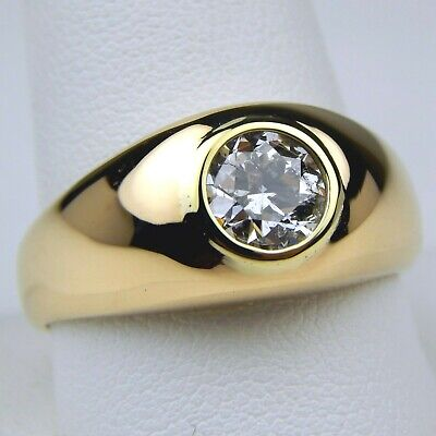 $2305.80 • Buy 14 Kt Yellow Gold 6.9 Mm Diamond Gypsy Solitaire Ring Size 11 Mid-Century #7288