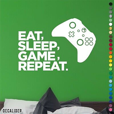 Xbox One Eat Sleep Game Repeat Sticker Decal Wall Art Childrens Bedroom Gaming • 3.99£