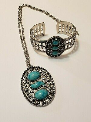 $21.99 • Buy Sarah Coventry 1973  Indian Maiden  Faux Turquoise Necklace And Bracelet Set