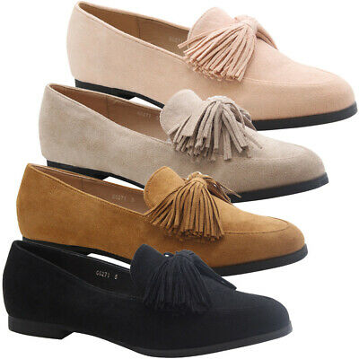 Womens Tassels Bow Loafers Ladies Fringe Flats Office Pumps School Shoes Size • 12.95£