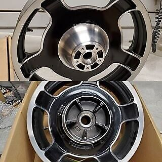 $299.95 • Buy New T/O PAIR Mag Front Rear Wheels Harley Touring OEM Ultra Road King Glide FLHX