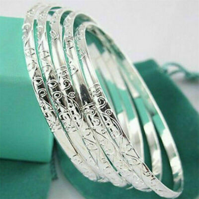 $2.99 • Buy 5Pcs 925 Silver Filled Carving Cuff Bracelet Bangle Jewelry Sets For Women Lady