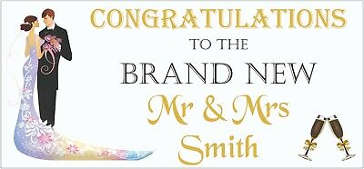 2 PERSONALISED Congratulations Wedding Banners Party Decorations Mr & Mrs 002 • 5.95£