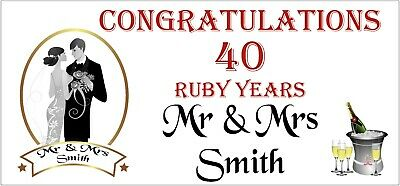 2 PERSONALISED 40th 40 Ruby Wedding Anniversary Banners Party Decorations 003 • 5.95£