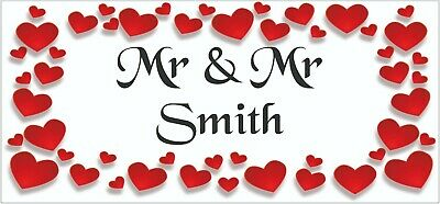 2 PERSONALISED Mr & Mr Wedding Anniversary Banners Party Decorations Red Hearts • 5.95£