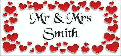 2 PERSONALISED Mr & Mrs Wedding Anniversary Banners Party Decoration Red Hearts • 5.95£