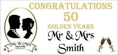 2 PERSONALISED 50th Golden Wedding Anniversary Banners Party Decorations 003 • 5.95£