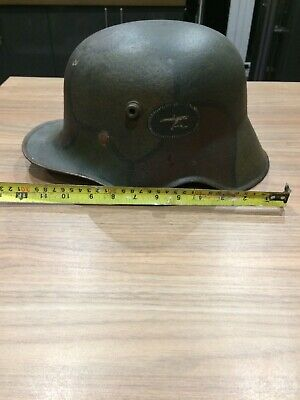WW1 Tri 3 Colour Machine Gunners Helmet GERMAN Steel Liner Camouflage Original • 599£