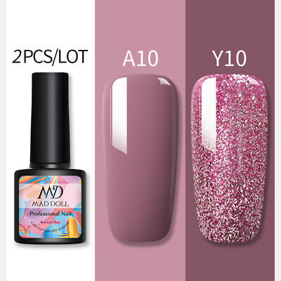 2 Bottles/Set 8ml MAD DOLL Glitter UV Gel Nail Polish Soak Off Gel Varnish Decor • 4.89£