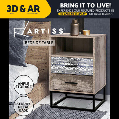 AU89.95 • Buy Artiss Bedside Tables Drawers Side Table Wood Nightstand Storage Cabinet Unit