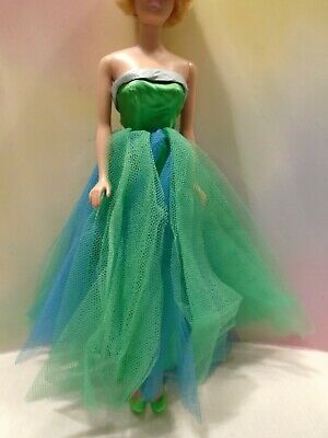 $ CDN20 • Buy  Vintage Barbie Doll Clothes Blue & Green Tulle & Satin Senior Prom Gown #951