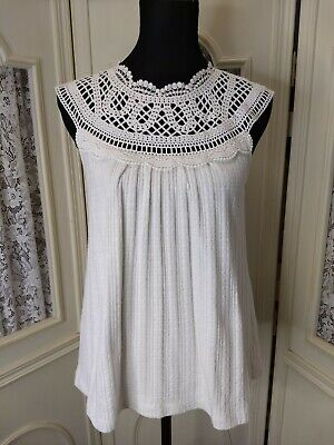 $ CDN33.13 • Buy Meadow Rue By Anthropologie Size XS White Lace Neck Knit Sleeveless Top GUC