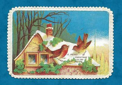 PRETTY VICTORIAN CHRISTMAS CARD ROBINS ON COTTAGE ROOF C1870s, PRETTY EDGING • 5£