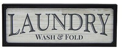 Laundry Wash & Fold Farmhouse Sign Shelf Sitter Rustic Wall Art Home Decor Print • 10.71£