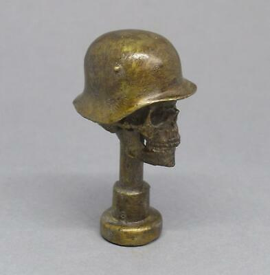 Vintage WW1 GERMAN Helmet SKULL Death Head PIPE TAMPER Trench Art BRONZE Brass • 16£