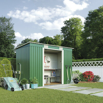 Waltons Metal Shed Pent Roof 6.6' X 3.9ft Sliding Doors Garden Outdoor Storage • 114.99£