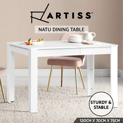AU59.95 • Buy Artiss Dining Table 4 Seater Wooden Kitchen Tables White 120cm Cafe Restaurant