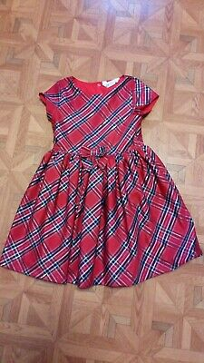 Girls Age 8-9 H&M Red Check Short Sleeved Dress • 2£