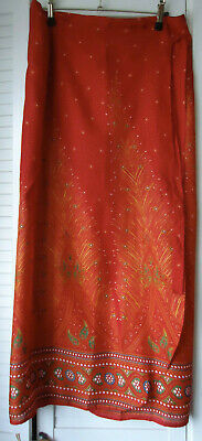 Long Skirt Wrap Around Ethnic Floral Rapron Indian Cotton Printed Feather Red  • 7.99£