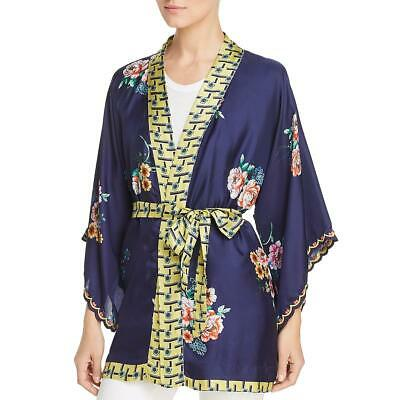 $87.58 • Buy Johnny Was Womens Zuki Navy Silk Floral Wrap Kimono Top L BHFO 2191