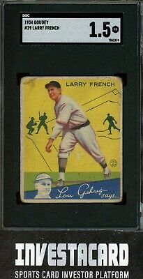 $2 • Buy 1934 Goudey Larry French #29 Pittsburgh Pirates Vintage SGC 1.5 Invest