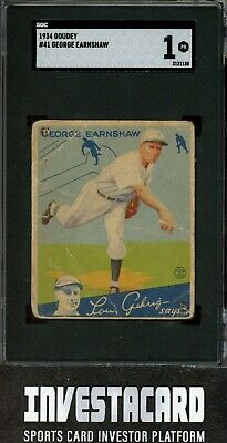 $2.25 • Buy 1934 Goudey George Earnshaw #41 Chicago White Sox Vintage SGC 1 Invest