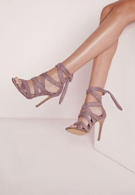 Ladies Missguided Mauve Faux  Suede Heeled Party / Evening Shoes Size Uk 4 Bn • 13£