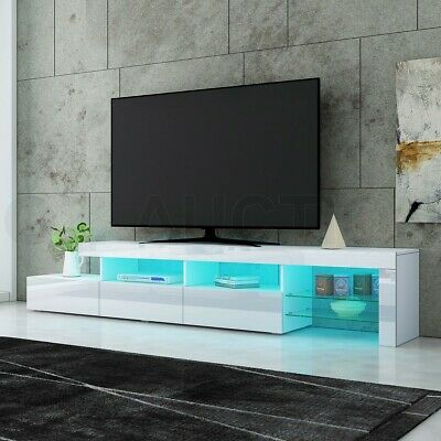 AU309.95 • Buy 240cm TV Stand Cabinet LED Entertainment Unit High Gloss Wooden 3 Drawers White