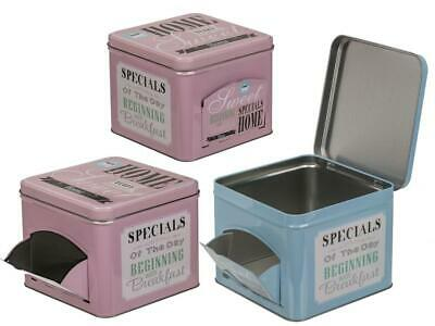 Square Metal Tin With Dispensing Flap Tea Sweet Biscuit • 7.59£