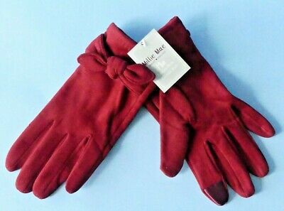 Millie Mae Forever England Mia Faux Suede Gloves With Bow One Size Dk Red ~ New • 9.95£