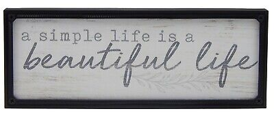 Simple Life Is Beautiful Farmhouse Sign Shelf Sitter Rustic Wall Art Decor Print • 10.71£