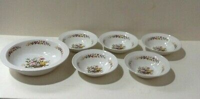 Vintage Barratts Delphatic White Set Of 5 Dessert Bowls And Serving Bowl (A1/02) • 7.50£