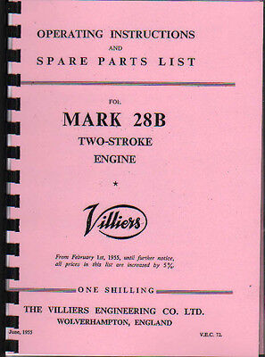 Villiers 'MARK 28 B' Stationary Engine Operating Parts Manual Book • 8.50£