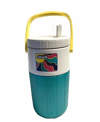 $21.95 • Buy Vintage Coleman Water Jug Cooler Polylite 1/2 Gallon 5590 Jug White Handle Teal