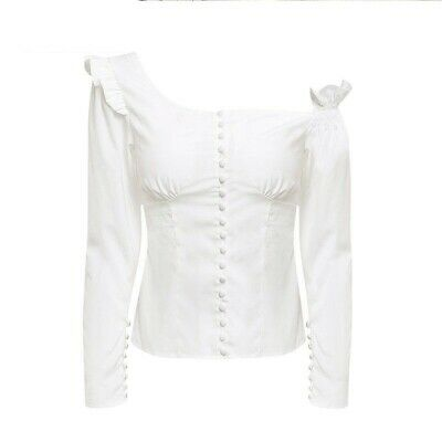 AU61.15 • Buy Blouse Women Square Collar White Shirt Clothing Lady Top 1pc Casual Slim Button