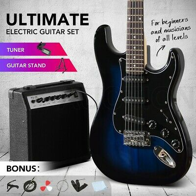 AU179.95 • Buy Melodic 39  Electric Guitar Full-Size String Music Amplifier Blue W/ Bag Tuner