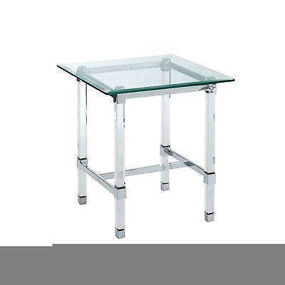 $335.35 • Buy End Table With Rectangular Glass Top And Acrylic Block Legs, Silver