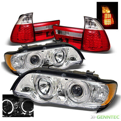 $394.17 • Buy For 01-03 BMW X5 E53 Twin Halo Projector Headlights+LED Tail Head Lights Pair