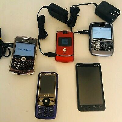$ CDN70.64 • Buy LOT OF 5 VINTAGE USED CELL PHONES With 2 BLACKBERRY