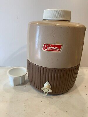 $39.99 • Buy Used Vintage Coleman 2 Gallon Water Jug Drink Dispenser Brown And Tan With Cup