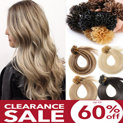 $41.38 • Buy CLEARANCE U Nail Tip Real Human Hair Extensions Full Head Keratin Pre Bonded US