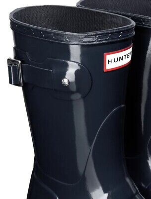 SALE Ladies Short Hunter Wellies Wellington Boots Gloss Navy Blue Size 4 • 62.89£