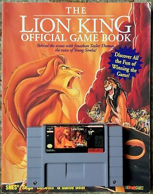 The Lion King  SNES Cartridge & Official Game Book Jason Rich BradyGames Disney • 22.62£