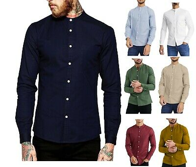 Men's Casual Oxford Shirt Grandad Collar Long Sleeve Shirts Regular Fit RH03 • 13.85£