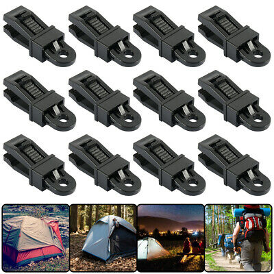 12Pcs Camping Awning Tarpaulin Eyelet Clips Non-Piercing Tent Tie Down Cover UK • 8.79£